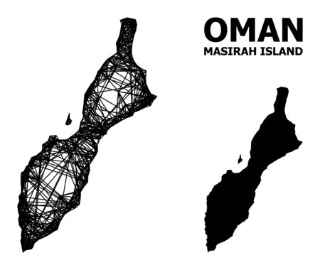 Web vector map of Masirah Island. Linear frame flat network in vector format, geographic template for political illustrations. map of Masirah Island are isolated on a white background. Ilustracja