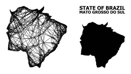 Net vector map of Mato Grosso do Sul State. Wire carcass flat network in vector format, geographic model for economics concepts. map of Mato Grosso do Sul State are isolated on a white background.