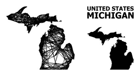 Net vector map of Michigan State. Linear carcass 2D mesh in vector format, geographic model for educational concepts. map of Michigan State are isolated on a white background. Ilustracja