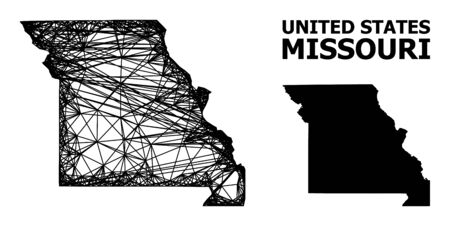Net vector map of Missouri State. Wire carcass flat mesh in vector EPS format, geographic model for economical illustrations. map of Missouri State are isolated on a white background. Ilustracja