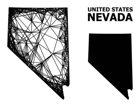 Net vector map of Nevada State. Linear frame 2D network in vector format, geographic model for political posters. map of Nevada State are isolated on a white background.