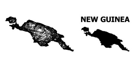 Web vector map of New Guinea Island. Linear carcass flat network in vector format, geographic template for economics posters. map of New Guinea Island are isolated on a white background.