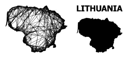 Net vector map of Lithuania. Linear carcass flat network in vector format, geographic model for political designs. map of Lithuania are isolated on a white background. Ilustración de vector