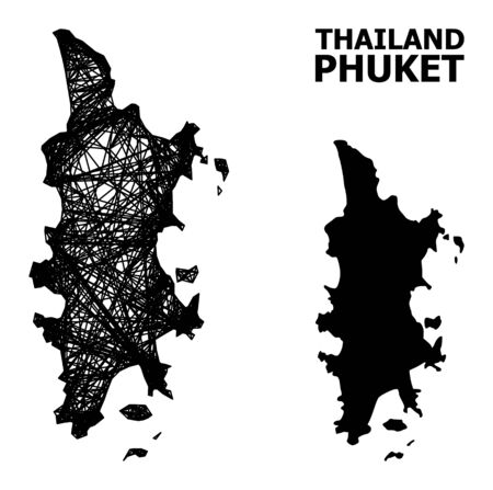 Net vector map of Phuket. Linear frame 2D mesh in vector format, geographic template for political concepts. map of Phuket are isolated on a white background.