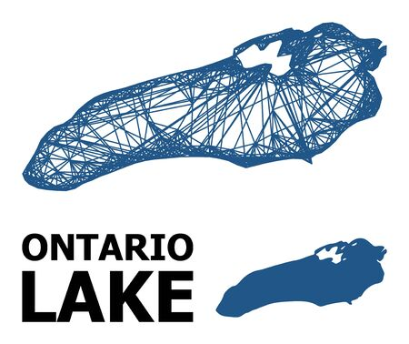 Web vector map of Ontario Lake. Wire frame 2D network in vector format, geographic template for political designs. map of Ontario Lake are isolated on a white background.