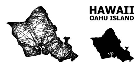 Web vector map of Oahu Island. Wire carcass 2D mesh in vector format, geographic model for patriotic designs. map of Oahu Island are isolated on a white background.