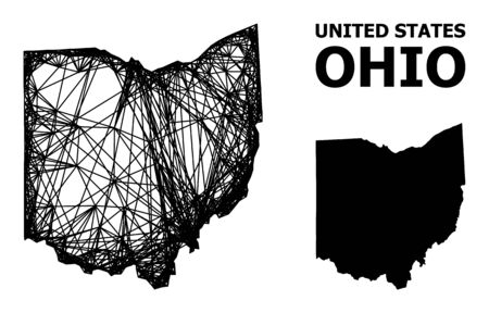 Net vector map of Ohio State. Linear frame flat mesh in vector format, geographic template for patriotic compositions. map of Ohio State are isolated on a white background.
