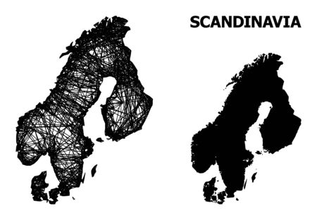 Net vector map of Scandinavia. Wire frame 2D mesh in eps vector format, geographic model for patriotic compositions. map of Scandinavia are isolated on a white background.