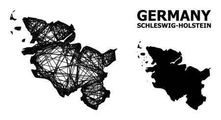 Net vector map of Schleswig-Holstein State. Linear frame flat mesh in vector format, geographic model for patriotic posters. map of Schleswig-Holstein State are isolated on a white background.