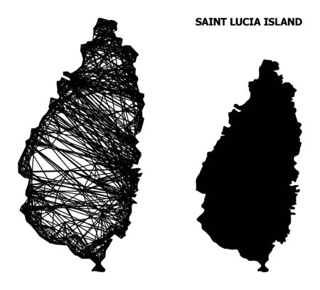 Net vector map of Saint Lucia Island. Linear frame 2D mesh in vector format, geographic template for educational designs. map of Saint Lucia Island are isolated on a white background.