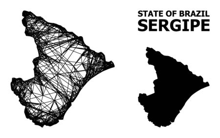 Web vector map of Sergipe State. Wire frame 2D network in vector EPS format, geographic model for educational purposes. map of Sergipe State are isolated on a white background.