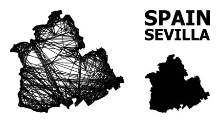 Web vector map of Sevilla Province. Wire frame flat network in vector format, geographic template for political compositions. map of Sevilla Province are isolated on a white background.