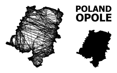 Web vector map of Opole Province. Linear carcass flat network in vector format, geographic template for economical purposes. map of Opole Province are isolated on a white background.