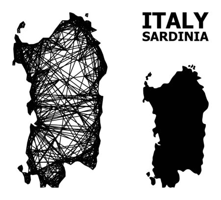 Web vector map of Sardinia region. Linear frame flat network in vector format, geographic template for political posters. map of Sardinia region are isolated on a white background.