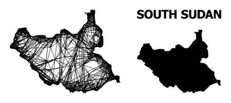 Web vector map of South Sudan. Wire frame 2D network in vector format, geographic model for political posters. map of South Sudan are isolated on a white background.