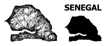 Web vector map of Senegal. Linear carcass flat network in vector EPS format, geographic model for educational concepts. map of Senegal are isolated on a white background.