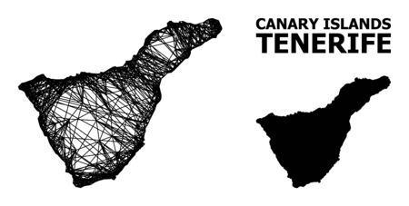 Net vector map of Tenerife Island. Wire carcass flat mesh in eps vector format, geographic template for economical posters. map of Tenerife Island are isolated on a white background. Illusztráció
