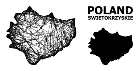 Web vector map of Swietokrzyskie Province. Wire carcass 2D network in vector format, geographic model for educational illustrations. map of Swietokrzyskie Province are isolated on a white background.