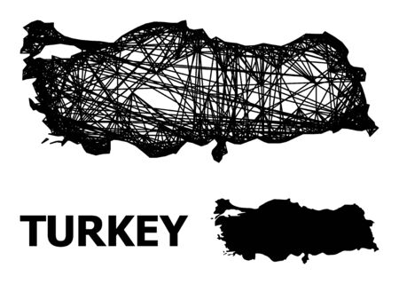 Net vector map of Turkey. Wire frame flat network in eps vector format, geographic template for political posters. map of Turkey are isolated on a white background.