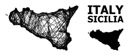 Net vector map of Sicilia Island. Linear frame flat network in vector format, geographic template for economical posters. map of Sicilia Island are isolated on a white background.