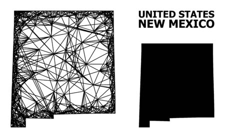 Web vector map of New Mexico State. Linear frame 2D network in vector format, geographic model for educational illustrations. map of New Mexico State are isolated on a white background. Illusztráció