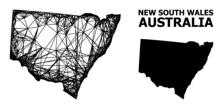 Web vector map of New South Wales. Wire carcass 2D network in eps vector format, geographic model for patriotic purposes. map of New South Wales are isolated on a white background. Illusztráció