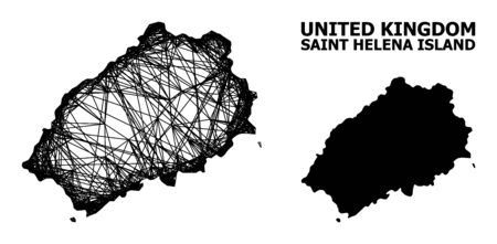 Web vector map of Saint Helena Island. Linear carcass flat network in eps vector format, geographic model for educational illustrations. map of Saint Helena Island are isolated on a white background.