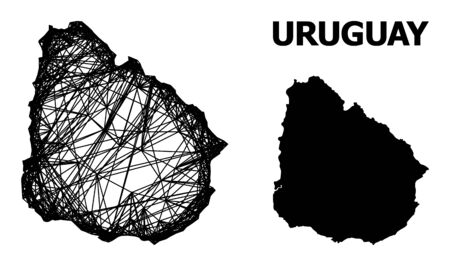 Web vector map of Uruguay. Linear frame flat network in vector EPS format, geographic template for patriotic illustrations. map of Uruguay are isolated on a white background.