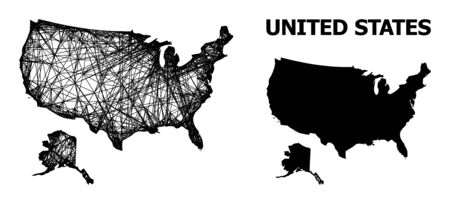 Web vector map of USA and Alaska. Wire carcass 2D mesh in eps vector format, geographic model for educational purposes. map of USA and Alaska are isolated on a white background. Illusztráció