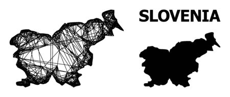 Web vector map of Slovenia. Linear carcass flat network in vector format, geographic model for educational compositions. map of Slovenia are isolated on a white background.