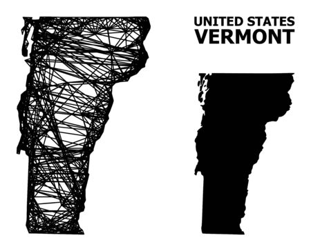 Web vector map of Vermont State. Linear frame 2D mesh in vector format, geographic model for economical designs. map of Vermont State are isolated on a white background.