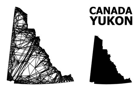 Net vector map of Yukon Province. Wire carcass flat network in vector format, geographic model for economical compositions. map of Yukon Province are isolated on a white background.
