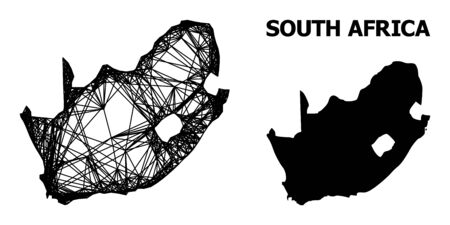 Net vector map of South African Republic. Linear frame 2D mesh in vector EPS format, geographic template for economical designs. map of South African Republic are isolated on a white background.