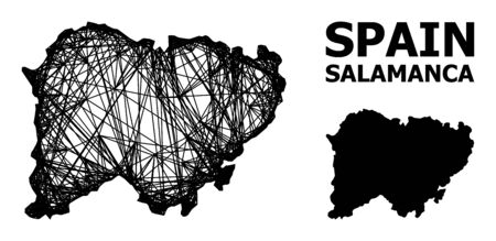 Net vector map of Salamanca Province. Linear carcass 2D network in vector format, geographic template for economical designs. map of Salamanca Province are isolated on a white background.