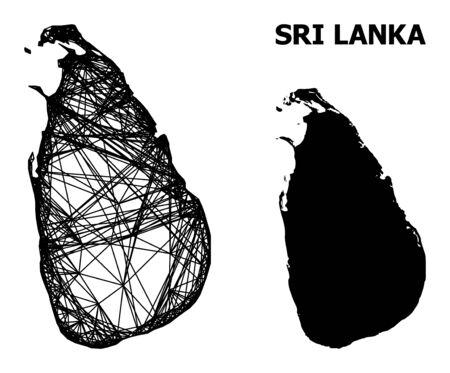 Web vector map of Sri Lanka. Wire frame 2D mesh in vector format, geographic template for educational designs. map of Sri Lanka are isolated on a white background.