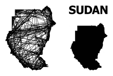 Web vector map of Sudan. Linear frame flat mesh in vector EPS format, geographic template for patriotic designs. map of Sudan are isolated on a white background. Ilustrace