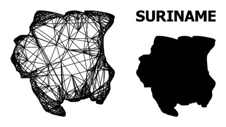 Web vector map of Suriname. Linear carcass 2D mesh in eps vector format, geographic model for political designs. map of Suriname are isolated on a white background.