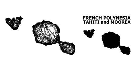 Carte vectorielle Web des îles de Tahiti et de Moorea. Maillage filaire 2D au format vectoriel, modèle géographique pour les concepts économiques. La carte des îles de Tahiti et de Moorea est isolée sur fond blanc.
