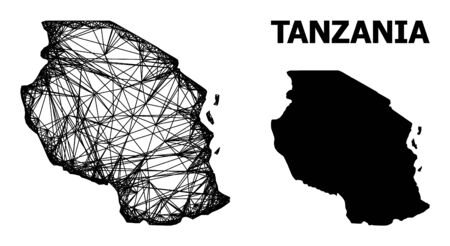 Net vector map of Tanzania. Wire frame flat mesh in vector format, geographic model for educational illustrations. map of Tanzania are isolated on a white background.