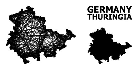 Net vector map of Thuringia State. Wire frame flat network in vector EPS format, geographic template for educational concepts. map of Thuringia State are isolated on a white background.