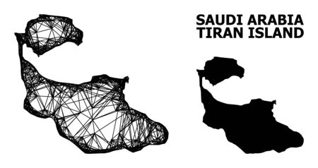 Net vector map of Tiran Island. Wire frame 2D mesh in vector EPS format, geographic model for economical illustrations. map of Tiran Island are isolated on a white background.