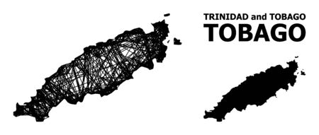 Net vector map of Tobago Island. Wire carcass 2D network in vector format, geographic model for patriotic posters. map of Tobago Island are isolated on a white background.