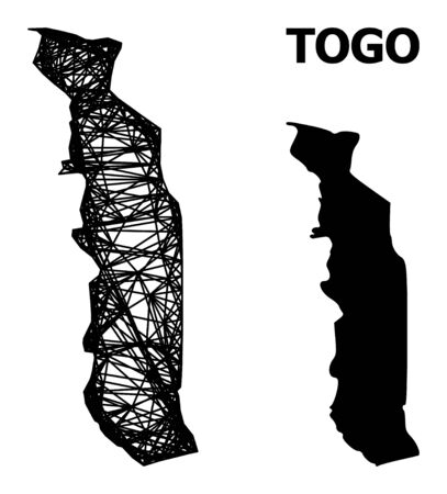 Web vector map of Togo. Linear frame flat network in vector format, geographic model for political designs. map of Togo are isolated on a white background. Illusztráció