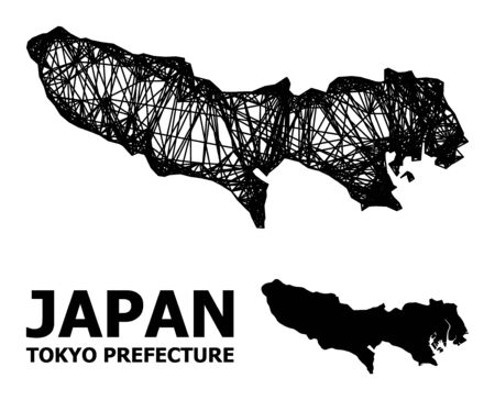 Web vector map of Tokyo Prefecture. Linear carcass 2D network in vector format, geographic model for economical compositions. map of Tokyo Prefecture are isolated on a white background. Illusztráció