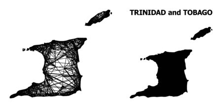 Web vector map of Trinidad and Tobago. Wire carcass 2D network in vector format, geographic model for economical compositions. map of Trinidad and Tobago are isolated on a white background. Ilustrace