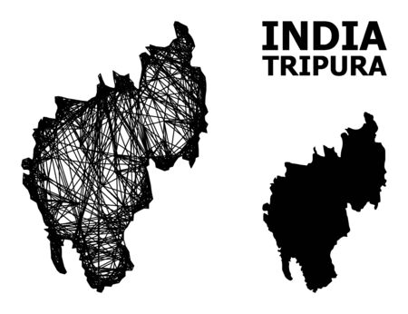 Net vector map of Tripura State. Wire carcass 2D network in vector format, geographic model for patriotic designs. map of Tripura State are isolated on a white background.