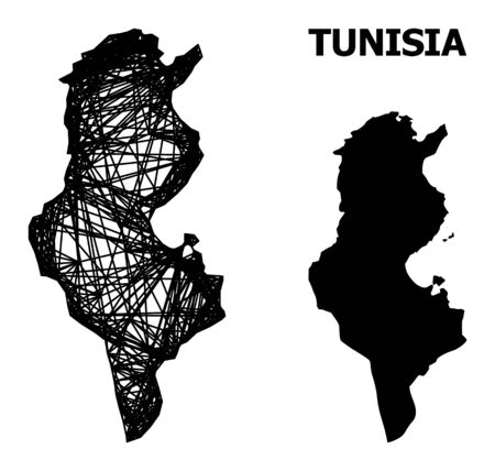 Web vector map of Tunisia. Linear frame flat network in vector EPS format, geographic template for economical compositions. map of Tunisia are isolated on a white background. Illusztráció
