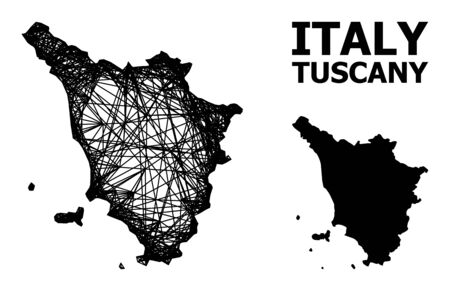 Net vector map of Tuscany region. Wire carcass 2D network in vector format, geographic model for economical purposes. map of Tuscany region are isolated on a white background.