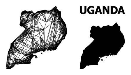 Web vector map of Uganda. Linear carcass flat mesh in vector format, geographic template for political purposes. map of Uganda are isolated on a white background.