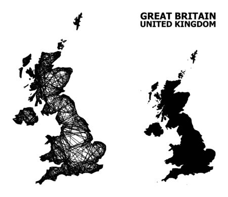 Web vector map of United Kingdom. Linear frame flat network in eps vector format, geographic model for educational concepts. map of United Kingdom are isolated on a white background.